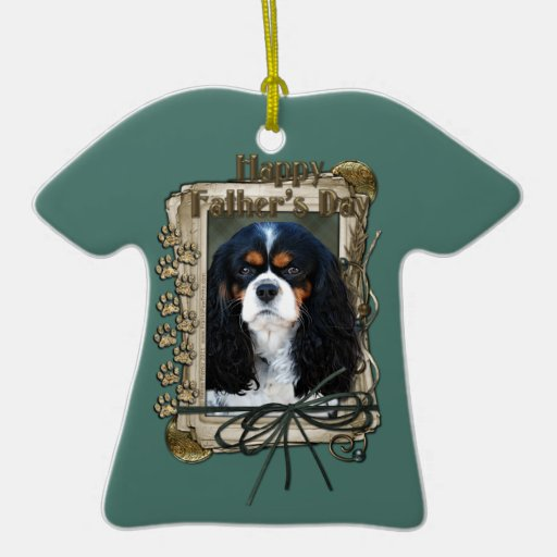 Fathers Day - Stone Paws - Cavalier Double-Sided T-Shirt Ceramic Christmas Ornament