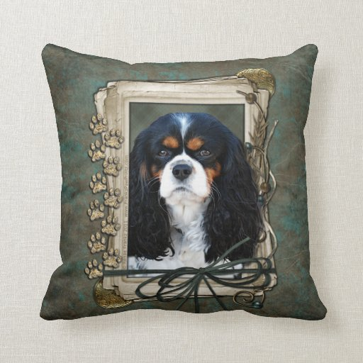 Fathers Day - Stone Paws - Cavalier - Tri Color Throw Pillows