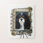 Fathers Day - Stone Paws - Cavalier - Tri-Color Jigsaw Puzzle