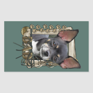 Fathers Day - Stone Paws - Chihuahua - Isabella Rectangle Stickers