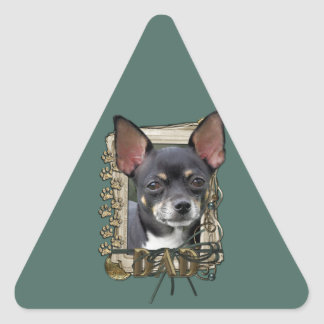 Fathers Day - Stone Paws - Chihuahua - Isabella Triangle Stickers