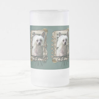 Fathers Day - Stone Paws - Chinese Crested Frosted Glass Beer Mug