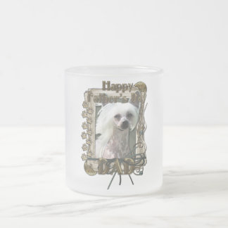 Fathers Day - Stone Paws Chinese Crested Kahlo Dad 10 Oz Frosted Glass Coffee Mug