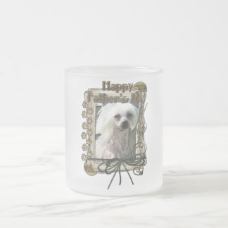 Fathers Day - Stone Paws - Chinese Crested - Kahlo 10 Oz Frosted Glass Coffee Mug