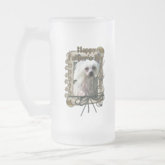 Fathers Day - Stone Paws - Chinese Crested - Kahlo 16 Oz Frosted Glass Beer Mug