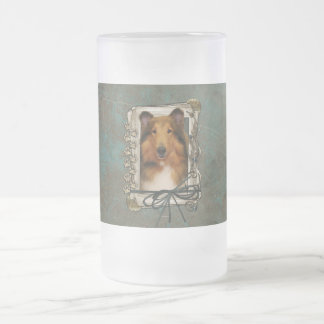 Fathers Day - Stone Paws - Collie - Natalie Frosted Glass Beer Mug