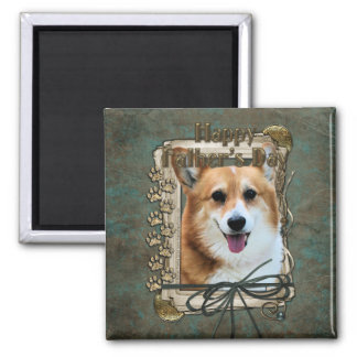 Fathers Day - Stone Paws - Corgi - Owen 2 Inch Square Magnet