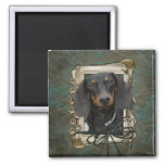 Fathers Day - Stone Paws - Dachshund - Winston 2 Inch Square Magnet