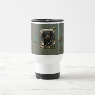 Fathers Day - Stone Paws - Dachshund - Winston 15 Oz Stainless Steel Travel Mug