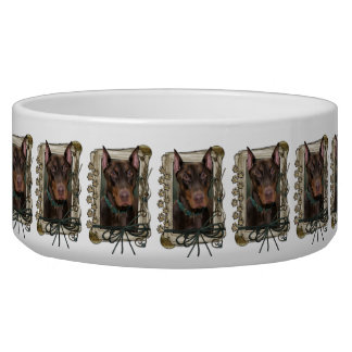 Fathers Day - Stone Paws - Doberman - Red Bowl