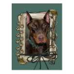 Fathers Day - Stone Paws - Doberman - Red Post Cards
