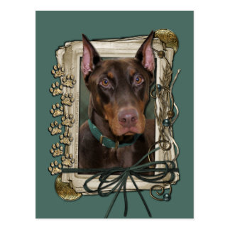 Fathers Day - Stone Paws - Doberman - Red Postcard