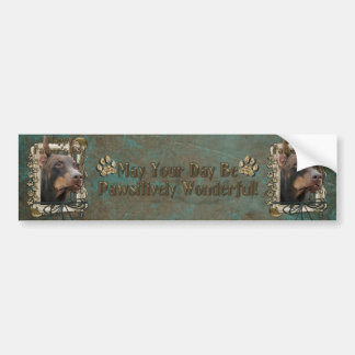 Fathers Day - Stone Paws - Doberman - Red - Rocky Bumper Sticker
