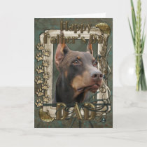 Fathers Day - Stone Paws - Doberman - Red - Rocky Card