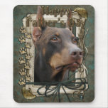 Fathers Day - Stone Paws - Doberman - Red - Rocky Mouse Pad