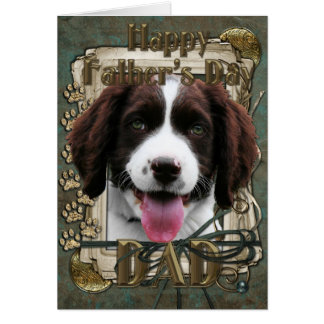 Fathers Day -Stone Paws - English Springer Spaniel Greeting Card