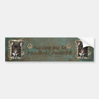 Fathers Day - Stone Paws - French Bulldog - Teal Car Bumper Sticker