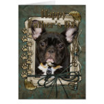 Fathers Day - Stone Paws - French Bulldog - Teal Greeting Cards