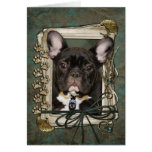 Fathers Day - Stone Paws - French Bulldog - Teal Greeting Card