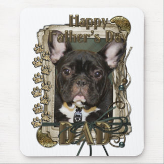 Fathers Day - Stone Paws - French Bulldog Teal Dad Mouse Pad
