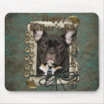 Fathers Day - Stone Paws - French Bulldog - Teal Mouse Pad