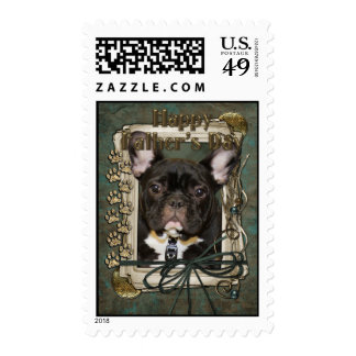 Fathers Day - Stone Paws - French Bulldog - Teal Postage Stamps