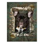 Fathers Day - Stone Paws - French Bulldog - Teal Postcard