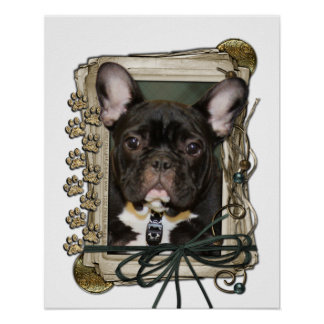 Fathers Day - Stone Paws - French Bulldog - Teal Posters