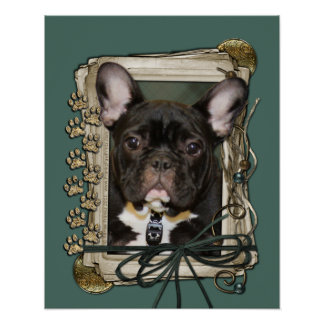 Fathers Day - Stone Paws - French Bulldog - Teal Poster