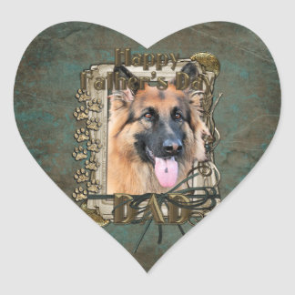 Fathers Day - Stone Paws - German Shepherd -Chance Heart Sticker