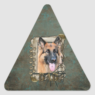 Fathers Day - Stone Paws - German Shepherd -Chance Triangle Sticker