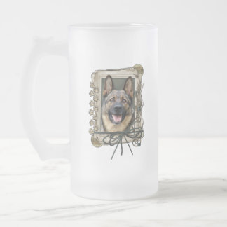 Fathers Day - Stone Paws - German Shepherd Frosted Glass Beer Mug