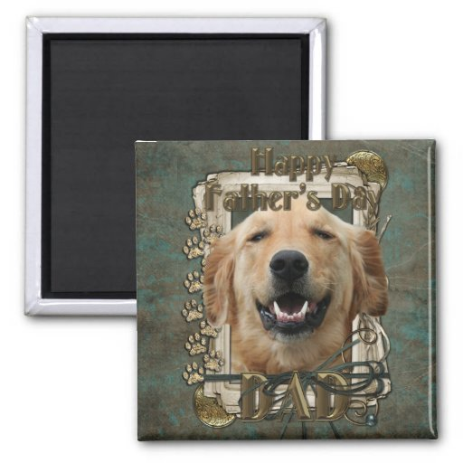 Fathers Day - Stone Paws - Golden Retriever 2 Inch Square Magnet