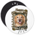 Fathers Day - Stone Paws Golden Retriever - Corona Pinback Buttons