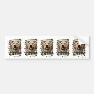Fathers Day - Stone Paws - Golden Retriever Mickey Bumper Sticker