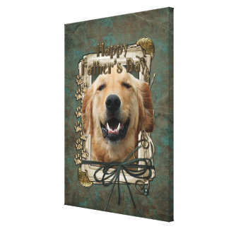Fathers Day - Stone Paws - Golden Retriever Mickey Stretched Canvas Prints
