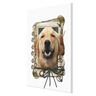 Fathers Day - Stone Paws - Golden Retriever Mickey Stretched Canvas Print