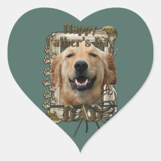 Fathers Day - Stone Paws -Golden Retriever -Mickey Heart Sticker