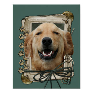 Fathers Day - Stone Paws - Golden Retriever Mickey Poster