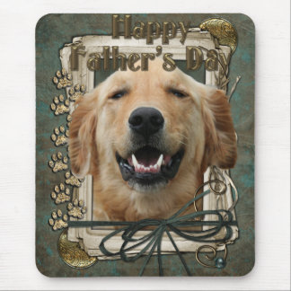 Fathers Day - Stone Paws - Golden Retriever Mouse Pad