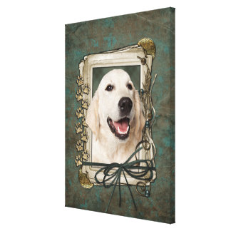 Fathers Day - Stone Paws - Golden Retriever Tebow Gallery Wrapped Canvas