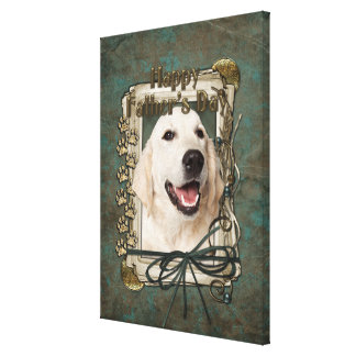 Fathers Day - Stone Paws - Golden Retriever Tebow Stretched Canvas Print