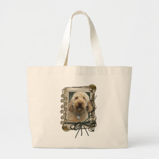 Fathers Day - Stone Paws - GoldenDoodle Tote Bags