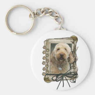 Fathers Day - Stone Paws - GoldenDoodle Basic Round Button Keychain