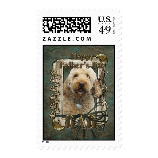 Fathers Day - Stone Paws - GoldenDoodle - Dad Postage Stamps