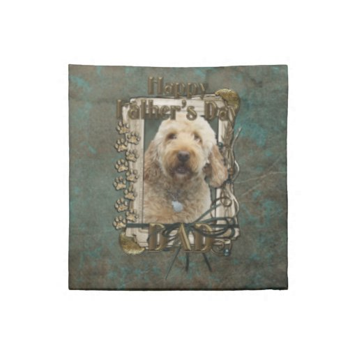 Fathers Day - Stone Paws - GoldenDoodle Printed Napkin