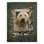 Fathers Day - Stone Paws - GoldenDoodle Poster