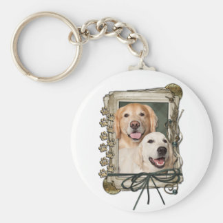 Fathers Day - Stone Paws - Goldens Corona and Tebo Basic Round Button Keychain
