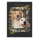 Fathers Day - Stone Paws - Goldens Corona and Tebo Greeting Card