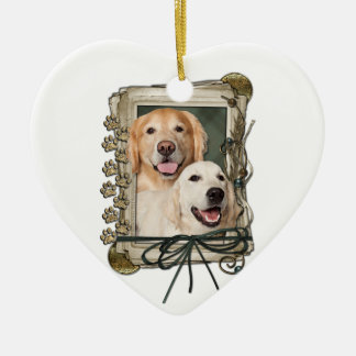 Fathers Day - Stone Paws - Goldens Corona and Tebo Ceramic Ornament